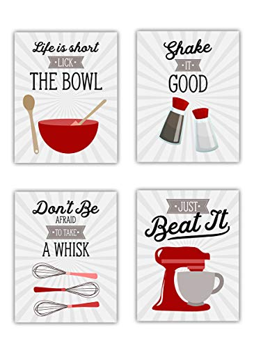 Red Retro Vintage Kitchen Wall Art Signs - Set of 4-8x10 UNFRAMED Gray, Red & White Kitchen Utensil Prints Perfect for Rustic, Modern Farmhouse, Country Decor. (Gray And Red Kitchen)