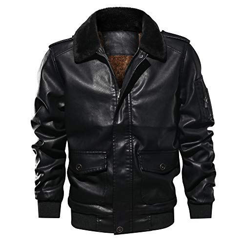 HYIRI Classic actical Outwear Coat,Men's Lapel Fur Collar Leather Pocket Flying Jacket T