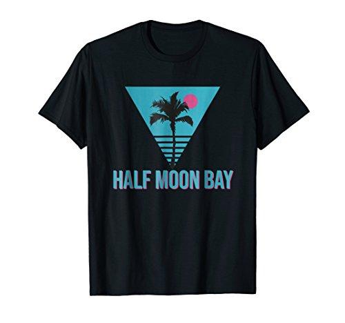 Half Moon Bay California Vintage Retro T-Shirt Palm Tree (Palm Tree Moon)