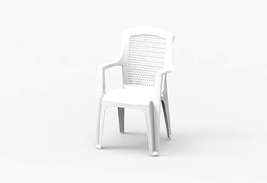 Mr Silla de jardín Diva Blanca de plástico con reposabrazos, pie, Respaldo Robusto y Estable: Amazon.es: Jardín