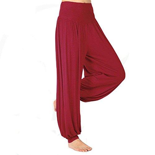 Elastica Trousers Ragazza Multistrato Nahen Pantaloni Donna Eleganti Harem Estivi Taille Tempo Basic Lunga Baggy Yoga Vino Sportivi Di Grazioso Rosso Primaverile Libero Moda qWHRpwxPH0