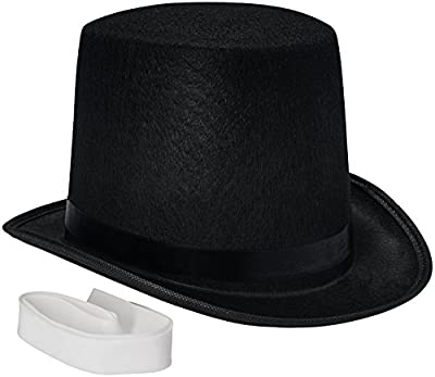 NJ Novelty - Top Hat Tall Black Felt Costume Accessory Party Dress Up Hats Adult Size + White Band