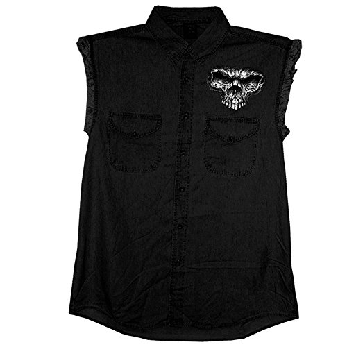 (Hot Leathers Shredder Skull Sleeveless Denim Shirt in Black)