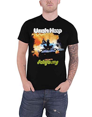 Uriah Heep T Shirt Salisbury Album Cover Band Logo Official Mens Black Size XL