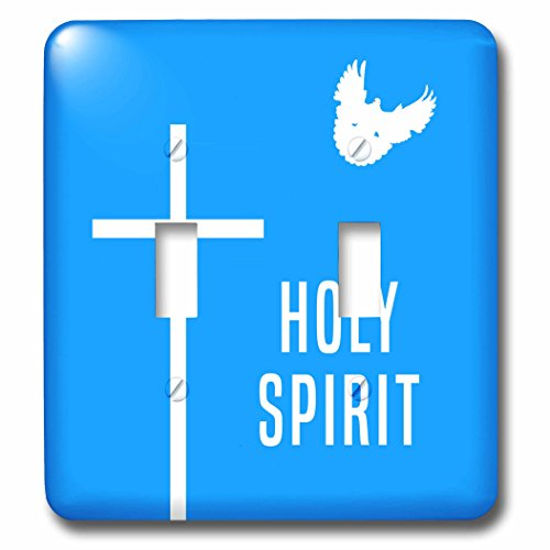3dRose Alexis Design - Holidays Easter - Easter. Blue sky, cross, dove, text Holy Spirit - Light Switch Covers - double toggle switch (lsp_283886_2) by 3dRose