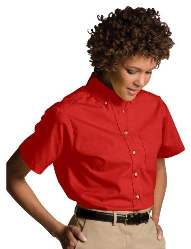 Edwards Short Sleeve Blouse (Edwards Garment Women's Button Down Collar Poplin Shirt, RED, XXX-Large)