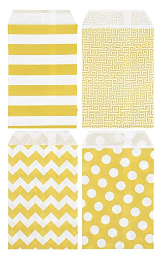 Yellow Treat Bags - 200-Pack Mini Paper Candy Bags, Small Food Safe Party Favor Bags, Easter Treat Bags, Striped, Maze, Chevron, Polka Dot Patterns, 3.6 x 5.3 -