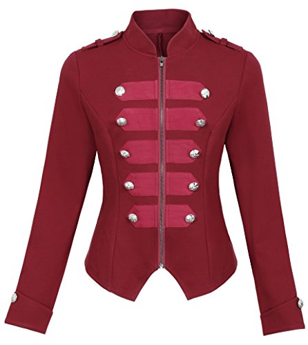 Steampunk Gothic Military Jacket Marching Band Coat KK464-3 Red Size S]()
