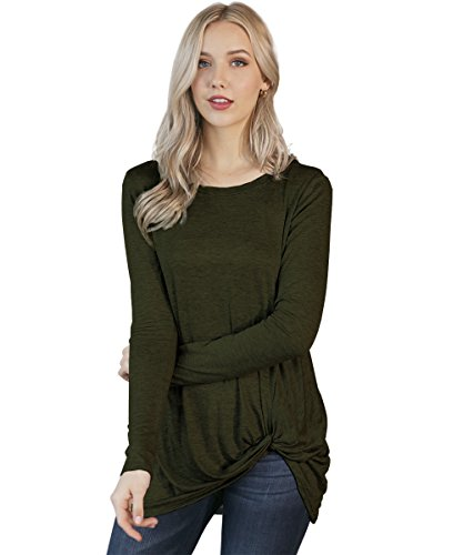 Preppy Doll Made in USA Women's Solid and Print Casual Soft Long Sleeve Side Knot Twist Knit Blouse Top (Medium, Olive) (In Clothing Made Usa Women)