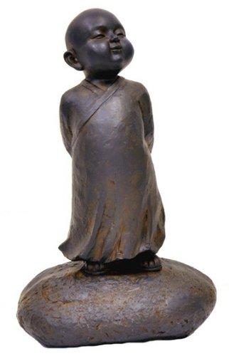 Hi-Line Gift Ltd Clay Fiber Baby Buddha Standing Statues, Black Rust