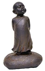 Hi-Line Gift Clay Fiber Baby Buddha Standing Statues, Black Rust