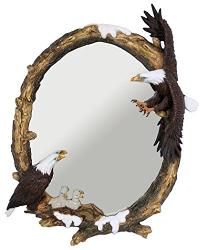 Bald Eagles Mirror with Flying Eagle Statue