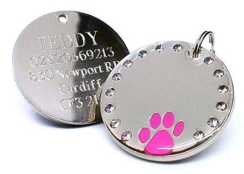 County Engraving Hundemarke/Haustierplakette, rund, glänzend, mit pinkfarbenem Pfotenabdruckmotiv, Gravur möglich, 30mmGravur auf der einen Seite möglich