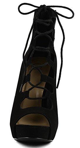 Mes Délicieuses Chaussures Délicieuses Shoppy Patron Womens Plate-forme Lace Up Talons Noir