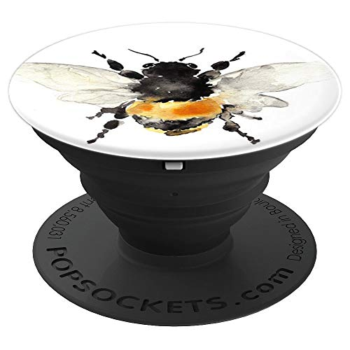 Cute Bee Bumblebee Yellow Watercolor Design on White - PopSockets Grip and Stand for Phones and Tablets (Pop Bumble)