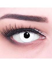 Kolorowe soczewki kontaktowe 1 para białe White Out z czarną obwódką 1 para. Najwyższa jakość na Halloween, Mardi Gras Halloweenowy pojemnik na soczewki bez zasilania