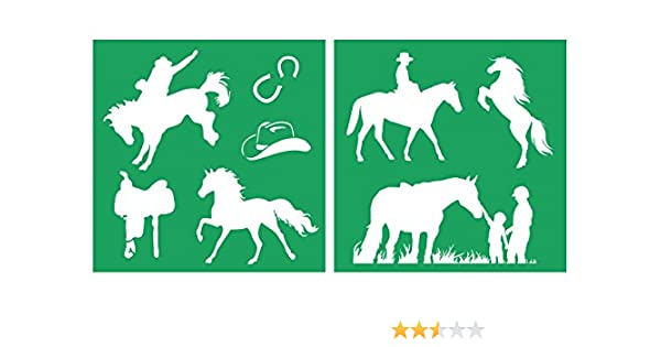 Detailed Horses /& Horse Riding Stencil Set 20-by-20-inch Sheet - Piece Kit STENCIL-HORSESET01-20 Auto Vynamics Featuring Several Different Horse /& Rider Designs! 2 Pair of Sheets