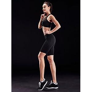 Neleus Women's 3 Pack Dry Fit Compression Shorts with Pocket,9005,Black,US L,EU XL