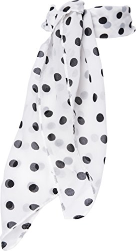 Sheer Chiffon Scarf Vintage Style Accessory for Women and Children (White Polka (50 Poodle Skirt Outfit)