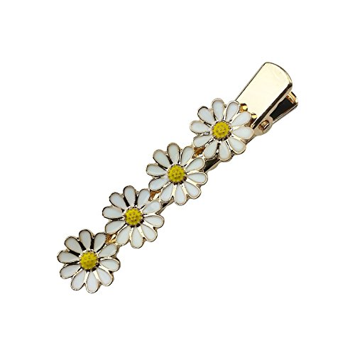 Art Attack Goldtone Daisy Daisies Sun Flower Floral Festival Party Summer Alligator Hair Clip ()