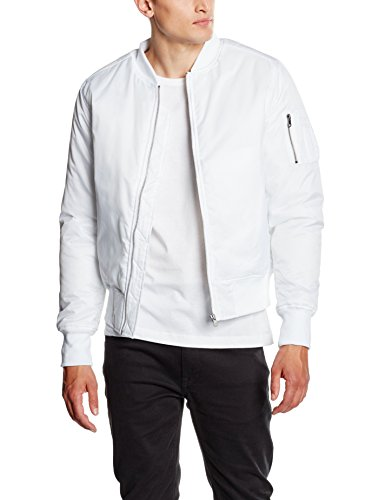 Urban Classics Herren Jacke Basic Bomber Jacket, Weiß (White 220), Medium