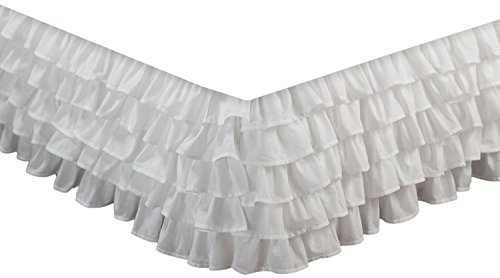 Why Should You Buy Stacey Solid White Multi-Ruffle Bed Skirt Dust Ruffle Bedding with Platform 18-in...