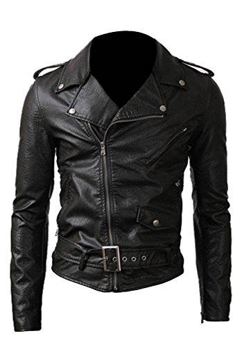 Brando Biker Mens Black Slimfit Biker Leather Asymmetrical Zip Belted Rider Jacket (Medium, Black)