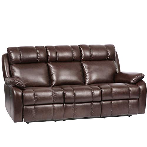 FDW Recliner Sofa Leather Sofa Recliner Couch Home Theater Seating Manual Reclining Sofa (3 Seater) for Living Room Set