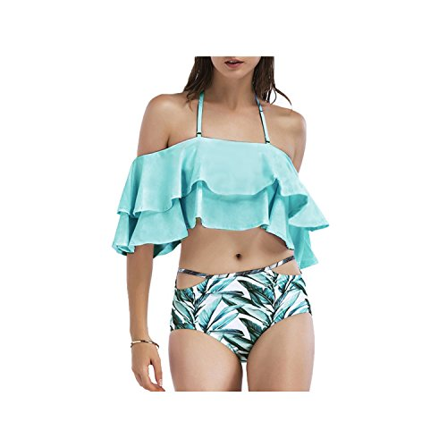 SS Queen Women Fashion Ruffel Off Shoulder Bikinis Bandeau Swimwears 2 Pieces (S, Blue) Queen Bandeau