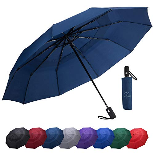 NOOFORMER Windproof Travel Umbrella - Compact Automatic Open Close Folding Umbrellas with Double Canopy