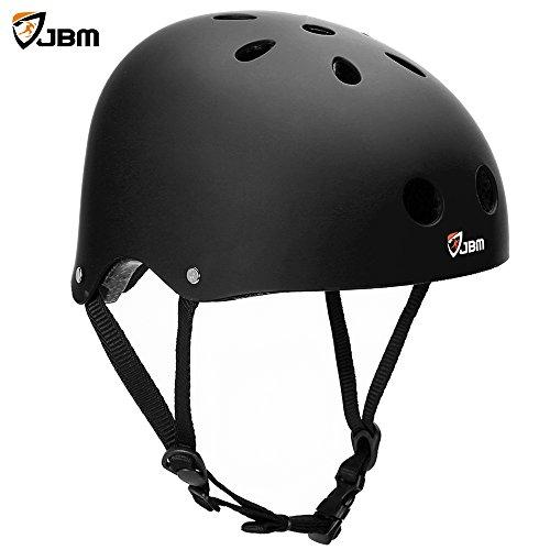 JBM international EPS foam Skateboard Helmet (Black, (Girl Black Helmet)
