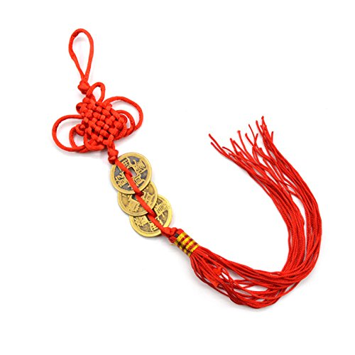 Ancient 3 Copper Coins Red Chinese Knot Feng Shui Wealth Success Lucky Charm Home Car Decoration -