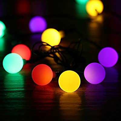 LUCKLED Globe Solar Powered Christmas Lights, 21ft 50 LED Ball String Lights, Decorative Lighting for Indoor/Outdoor, Home, Garden, Patio, Lawn, Party, and Holiday Decorations (Multi Color)