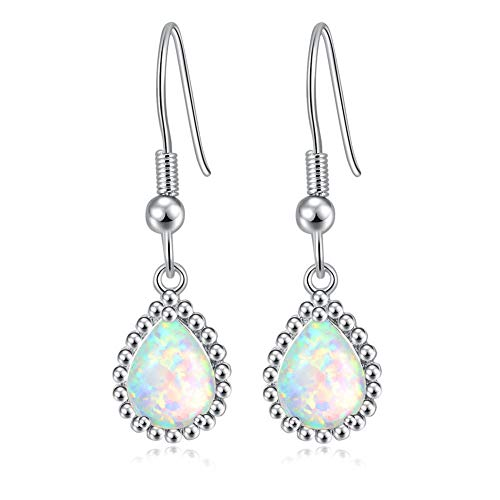 (CiNily Created White Fire Opal Rhodium Plated for Women Jewelry Gemstone Dangle Earrings 1 1/4