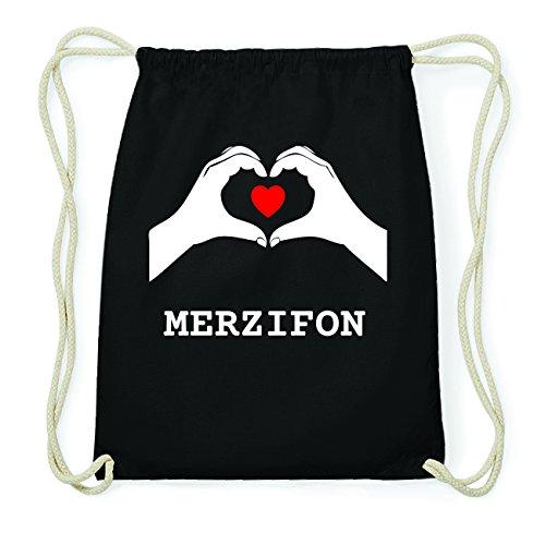 JOllify MERZIFON Hipster Turnbeutel Tasche Rucksack aus Baumwolle - Farbe: schwarz Design: Hände Herz QXlfGJGwy