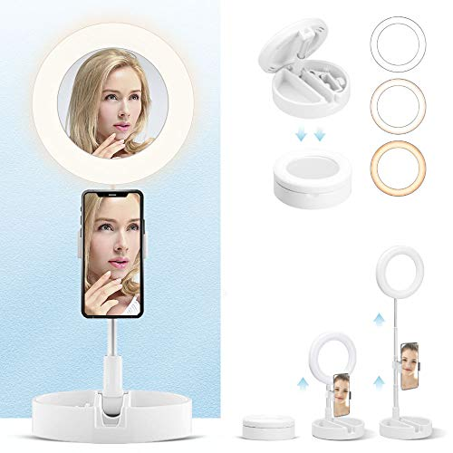 Foldable-Portable-Ring-Light with Extendable Stand and Phone Holder, 6.5 inch One-piece Dimmable Ring Light Kit With Mirror,3 Modes 10 Brightness Filling Light for Vlog, Live Streaming, Selfie, Makeup