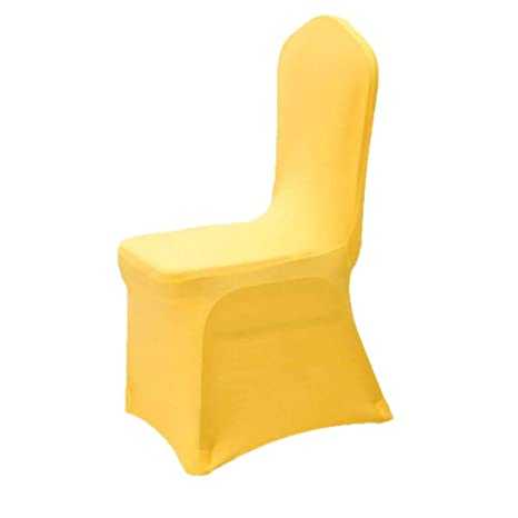 Amazing Gfcc Pack Of 12 Yellow Spandex Chair Covers Stretch Cloths High Fitted For Wedding Party Supplies Birthday Decorations Event Banqurt Baby Shower Pabps2019 Chair Design Images Pabps2019Com
