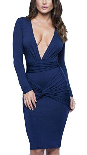 Twist Long Dress Sleeve Deep Sexy Blue Front Solid V Women's Neck Dress Dart Ruched Alion Long zqxBfwn