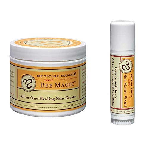 Medicine Mama's Sweet Bee Magic All in One Healing Skin Cream 3 Pack (4oz + Lip & Face Balm) gluten, soy, milk, egg, fish, s