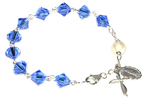 Womens Rosary Bracelet Made with Sapphire Blue Swarovski Crystal Element (September)