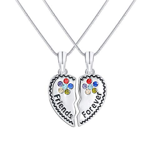 LINGFAN Best Friends Necklace 2, BFF Friendship Silver Forever Heart Broken Necklace Set, Gifts for Teen Girls Kids, Charm Engraved Letters Necklace, 18''