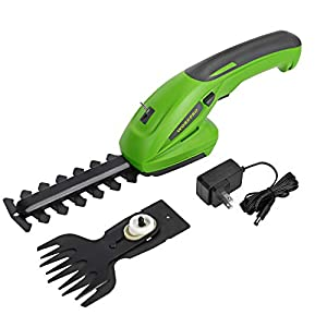 WORKPRO 7.2V 2-in-1 Cordless Grass Shear + Shrubbery Trimmer – Handheld Hedge Trimmer, Rechargeable Lithium-Ion Battery…