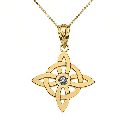 10k Gold Solitaire Diamond Witch's Knot Wiccan Symbol Pendant Necklace, 18