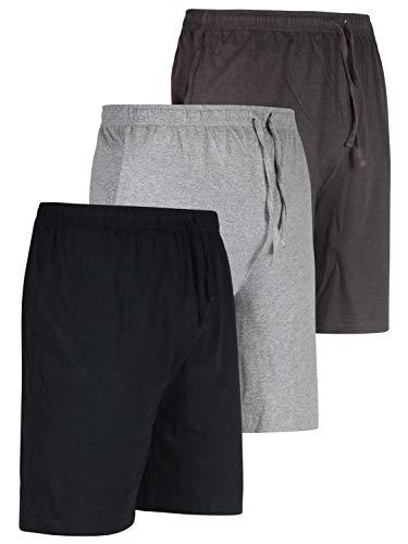 3 Pack:Men's Jersey Knit Cotton Pajama Bottoms Shorts Sleep Bamboo Modal Lounge Wear PJ-Set 3,3XL