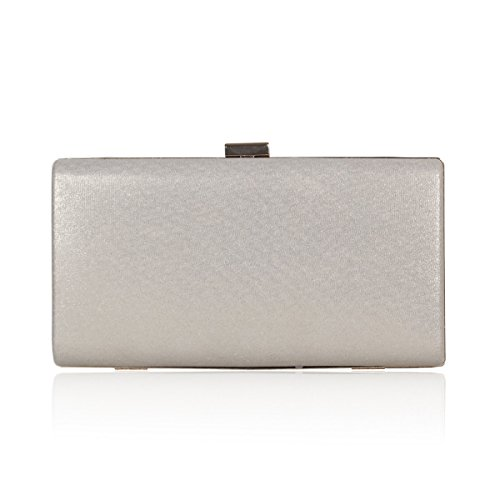 Crystal Textured Rose Elegent Evening Silver Damara Clutch Womens Studded WnwFZOU