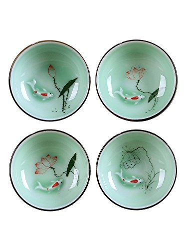 Hand Painted Kungfu Teacup,Chinese Long-quan Celadon Teacup,Fishes and Lotus Pattern,set of 4 -