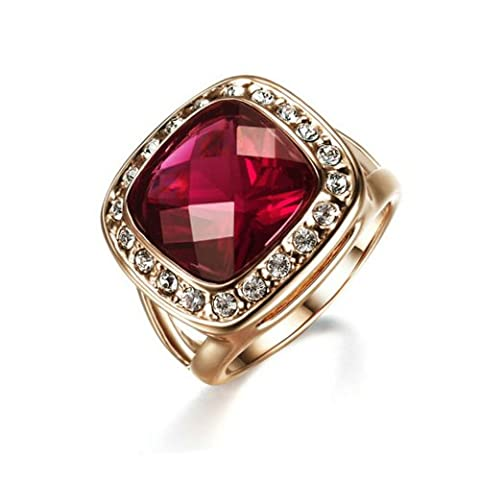 Yoursfs Womens Wine Ruby Rings 18k Rose Gold Plated Vintage Retro Garnet Stone Halo CZ Cocktail Statement Ring Bridal Engagement Fashion - Big Stone Ring