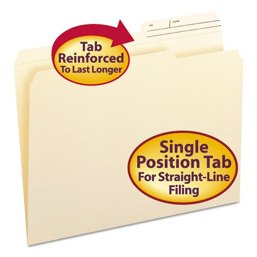 Guide Height File Folders, 2/5 Cut, Two-Ply Top Tab, Letter, Manila, 100/Box