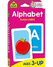 School Zone - Alphabet Flash Cards - Ages 3 and Up, Preschool, Letter-Picture Recognition, Word-Picture Recognition, Alphabet, and More