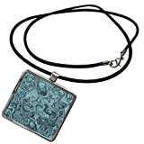 3dRose Andrea Haase Art Illustration - Marbled Design In Teal - Necklace With Pendant
